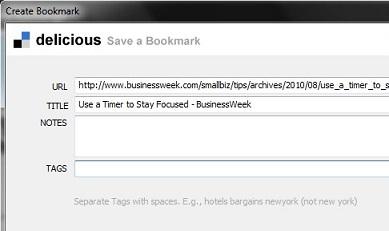 Delicious bookmarking
