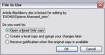 SharePoint File In Use