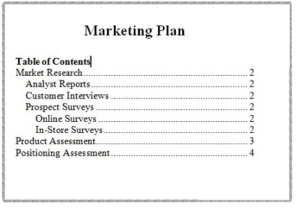 Microsoft Word 2007 Table of Contents Sample